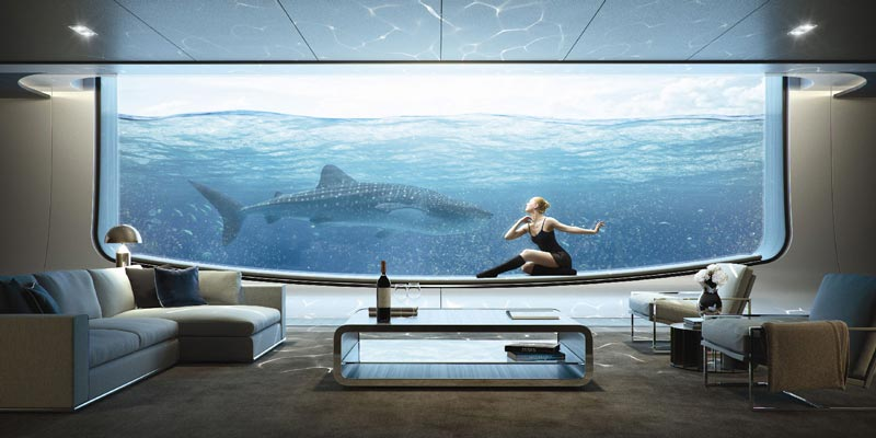 Superyachts' underwater lounges