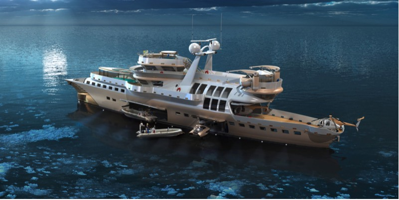 Superyacht Arctic Owl. Spaceship on the water